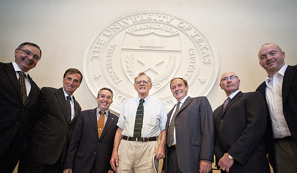 [ Photo: UT inventor John Goodenough (center) with Hydro-Quebec and UT Austin representatives ]