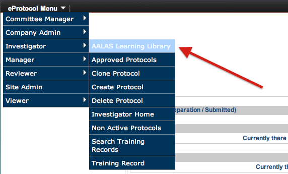 AALAS Learning Library Screen