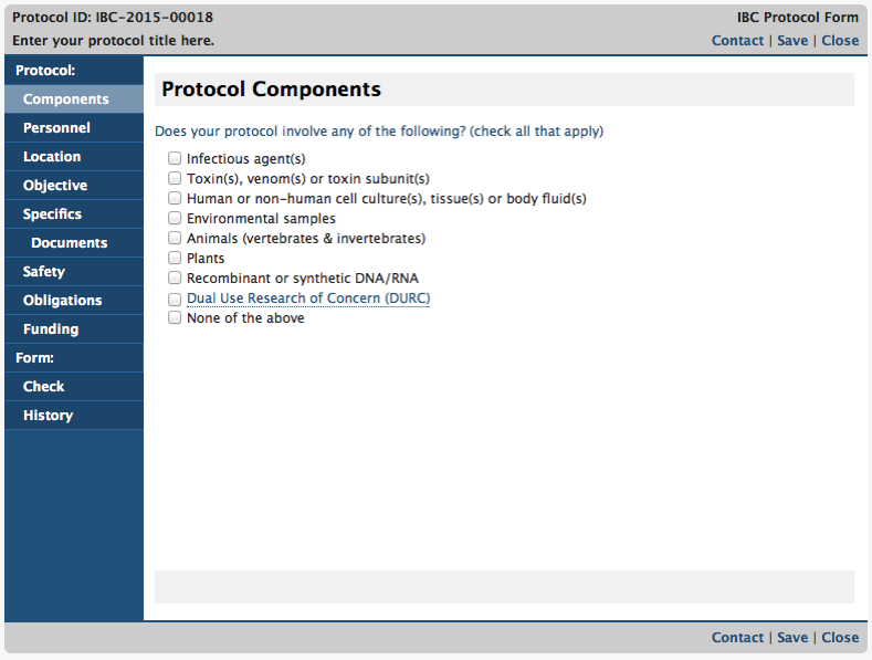 IBC Protocol Form Page